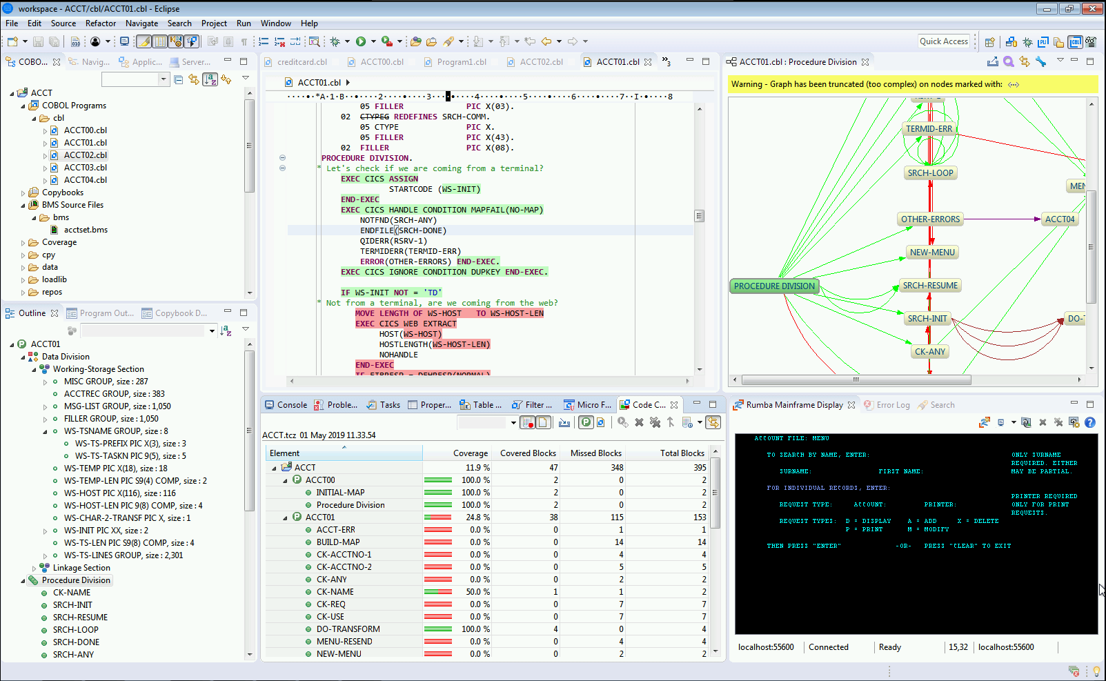 Figure 2 – Modern mainframe development under Eclipse showing application structure analysis, code coverage statistics, smart editing and debugging capabilities for mainframe COBOL and PL/I applications. Provided as standard in Micro Focus Enterprise Developer.