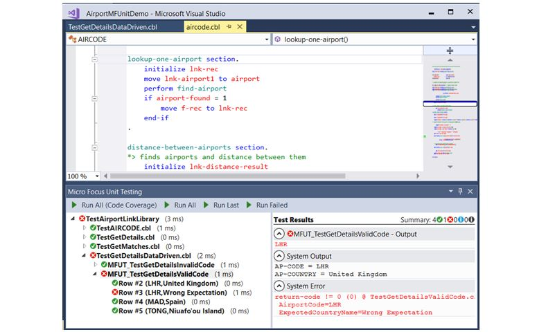 visual cobol visual studio data driven testing